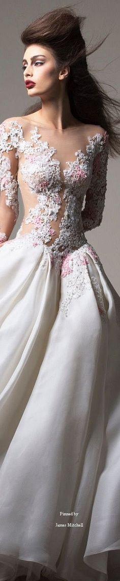 Saiid Kobeisy l Pink & White Wedding Dress Beautiful Intricate Details