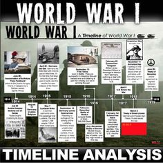 World War I Timeline takes your students to Europe from 1914 to Students analyze the timeline and complete a twenty question common core aligned worksheet. This assesses students on the history of the WWI as well as timeline analysis. World History Book, Ww1 History, World History Teaching, History Posters, World History Lessons, History Facts, Ancient History, History Education, History Projects