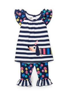 Nannette Navy Dog Tunic and Pants Set Toddler Girls
