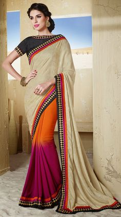 Exclusive purple and dusty cream chiffon half and half saree which is decked with a stone work on the pallu and gold zari embroidery work on the border. This outfit comes with contrast black blouse piece. The blouse of this saree can be stitched in the maximum bust size of 42 inches