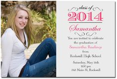 Gray And Pink High School Graduation Announcements By Photo Card Cafe