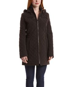 Look at this #zulilyfind! Espresso Quilted Jacket by Laundry by Shelli Segal #zulilyfinds