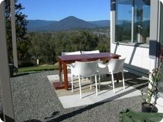 An outdoor terrace perfect for dining and looking at the scenery.
