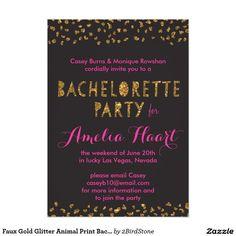 Faux Gold Glitter Animal Print Bachelorette Party
