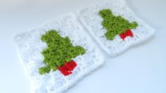 C2C Christmas Tree Granny Square - How to Crochet
