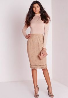 Laser Cut Hem Faux Suede Midi Skirt Taupe