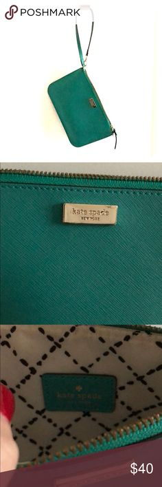 Kate spade wristlet in teal green Adorable wristlet by Kate spade in teal green kate spade Bags Clutches & Wristlets