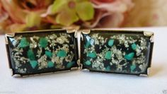 VINTAGE LUCITE SILVER FLAKE & TURQUOISE CUFFLINKS