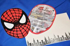 Will's party invitations -- mine were slightly less done up...no white eyes and no comic book page