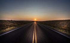 Download wallpapers road ahead, concepts, sunset, sun, asphalt road, infinity concepts