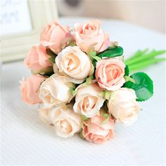 Fake Flowers Silk Artificial Roses 12 Heads Bridal Wedding Bouquet for Home Garden Party Wedding Decoration Rose Wedding Bouquet, White Wedding Bouquets, Rose Bouquet, Bridesmaid Bouquet, Bride Bouquets, Holding Flowers, Fake Flowers, Artificial Flowers, Silk Roses