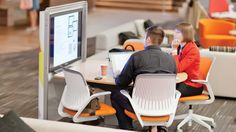 Merging Third Places to Create a Positive Work Environment - Steelcase Corporate Office Design, Office Space Design, Workspace Design, Office Spaces, Work Spaces, Positive Work Environment, Office Environment, Open Office, Work Cafe