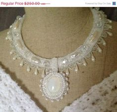 ON SALE Beaded Necklace Winter White Wedding by bjswearableart, $175.00
