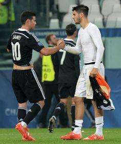 James con Morata el ex-Real Madrid jugador del Juventus marco gol. 5.5.15 champions