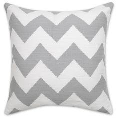Modern Throw Pillows | Grey and Natural Zig Zag Woven Cotton Pop Throw Pillow | Jonathan Adler