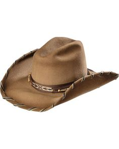 Strut your stuff in this beautiful Bullhide wool hat. Brown leatherette hat band features bead accents & a woven southwest design Cowgirl Hats, Cowgirl Outfits, Cowboy Boots, Cowgirl Clothing, Mens Western Hats, Western Boots, Western Store, Corral Boots, Justin Boots