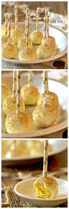 Gold Glitter Cake Pops (Lemon Cake Pops), perfect for any holiday! So easy. Lemon Cake Pops covered in white chocolate!   The Cookie Rookie