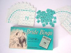 This looks like a good way to get some laughs during the shower! Bridal Bingo, Bridal Shower Games, Vintage Theme Bridal Shower, Bride Shower, Bingo Cards, Vintage Games, Pink Flamingos, Hostess Gifts, Games To Play