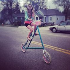 little-red-head0:  Riding my moms mini-tall bike #bike #homemade