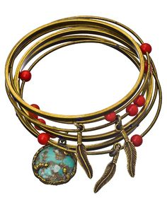 Blue Sky Bangle Set- could do sets with natural stones and crystals!