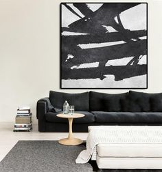 Hand painted Horizontal Minimal art on canvas from CZArtDesign.com @CelineZiangArt. Black and white painting for neutral home or minimalist interiors, simple and clean.