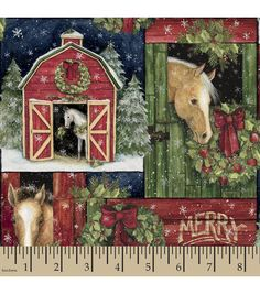 Holiday Inspirations™ Christmas Fabric-Susan Winget Farm Horse Christmas Patch