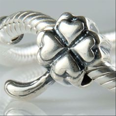 Four Heart Leaf Clover Bead Authentic 925 Sterling Silver Core Beads