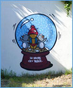 Rue Dumont D'Urville      A Aquacaux, pour ceux qui aiment les escaliers.           Bd Léningrad (de 2016) What To Draw, City Beach, Street Art Graffiti, Street Artists, Smurfs, Cool Art, Images, Doodles, Deco