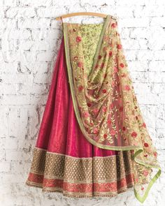 Lehengas by SwatiManish : Apple red with floral dupatta