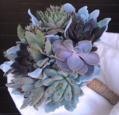 Succulent Wedding Bouquet Rustic Bouquet by ATouchofSucculents, $125.00