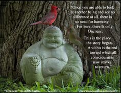 Once you are able to look at a nother being and.....  see no difference at all... buddism