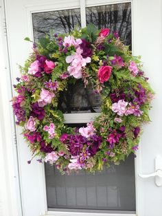 Spring wreath with Pink Roses and Purple Hydrangea