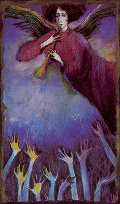 Katalin Szegedi Tarot - 20 - A feltámadás - Die Auferstehung (The Last Judgment) Judgement Tarot Card, True Tarot, Spirit Ghost, Epic Of Gilgamesh, Tarot Major Arcana, Oracle Cards, Tarot Decks, Occult, Illustrators