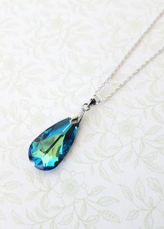 Bermuda Blue Faceted Teardrop Crystal Earrings and Necklace Set, Swarovski Crystal, gifts for her, Something blue, blue weddings, bridal, www.glitzandlove.com