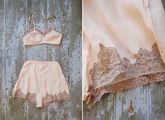 vintage lingerie set / vintage 1930s boudoir set / by adorevintage