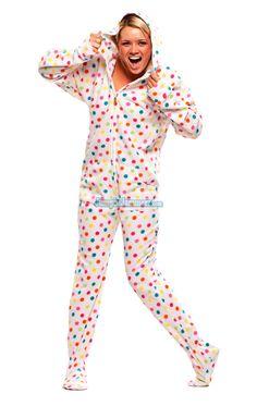 Frosty Dot Hoodie - Hooded Footed Pajamas - Pajamas Footie PJs Onesies One Piece Adult Pajamas - JumpinJammerz.com