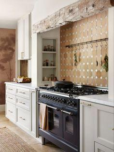 Home Renovation, Kitchen Interior, Kitchen Design, Mudroom Cabinets, Hand Hewn Beams, Stone Accent Walls, Terracotta Floor, Limestone Wall, Travertine Floors