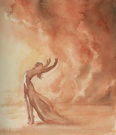 Storm Dancer, watercolor by Victoria Lisi I dream of a huge sandstorm. There is no escape. I let myself go, entering an ecstatic dance.