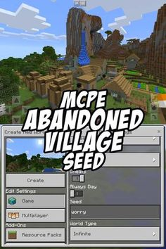 The large zombie-infected village by game spawn has been abandoned by the zombies and all villagers. Seed:worry for Pocket Edition Minecraft Pe Seeds, Video Minecraft, Minecraft Cheats, Minecraft Tutorial, Minecraft Blueprints, Cool Minecraft, Minecraft Memes, Minecraft Party, Minecraft Houses