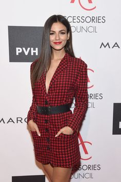 Victoria Justice attends the Accessories Council's Annual celebration of the ACE awards at Cipriani Street on August 7 2017 in New York City Victoria Dawn Justice, Victoria Justice Outfits, Zoey 101, Girl Celebrities, Celebs, Karen Gilan, Peplum Dress, Wrap Dress, Elizabeth Gillies