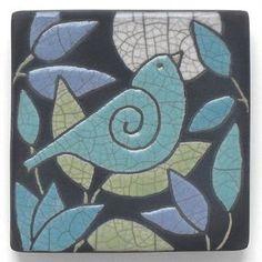 Ceramic Wall Art Aqua BirdCeramic tilehandmade 4x4 raku
