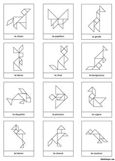 Free Animal Contours for Tangram Game Kindergarten Activities, Toddler Activities, Learning Activities, Kids Learning, Preschool, Tangram Printable, Tangram Puzzles, Math Art, Learning Through Play