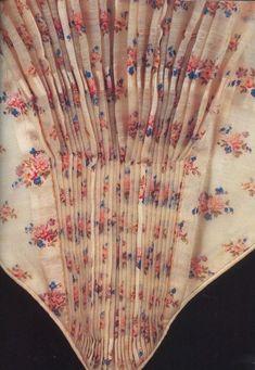 Bodice detail printed wool gauze dress 1855-1860