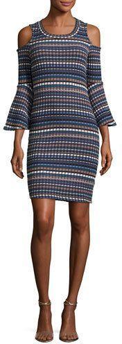 Ella Moss Nomadic Ribbed Cold-Shoulder Dress, Blue