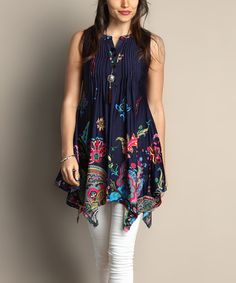 Another great find on #zulily! Navy Paisley Notch Neck Handkerchief Tunic - Plus by Reborn Collection #zulilyfinds