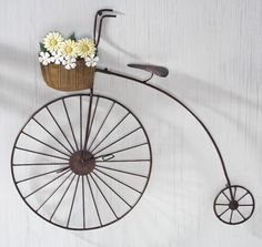 Primitive Country Bicycle Metal Wall Art. I love vintage bike decor!!!