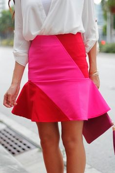 Pink and Red Flare Skirt
