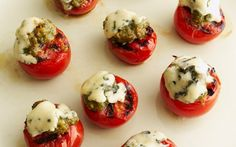 Grilled Tomatoes with Blue Cheese Slices and Basil Pesto