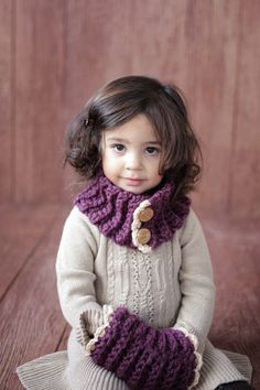 CROCHET PATTERN Toddler & Girls Cowl and Muff The Violet  From the Danica Collection 2 sizes,