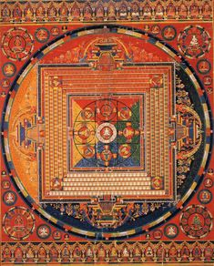 "Thangka painting of Vajradhatu. Maṇḍala is a Sanskrit word meaning ""circle."" In the Buddhist and Hindu religious traditions their sacred art often takes a mandala form. Basic form of Hindu and Buddhist mandalas is a square with four gates containing a circle with a center point. Each gate is in the shape of a T. Kolam The term Kolam normally refers to Hindu contexts and practices, while maṇḍala normally refers to Buddhist contexts and practices Yet the terms are also used interchangeably."